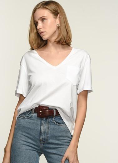 NGSTYLE Ngkss21Ts0086 V Yaka Tshirt Beyaz